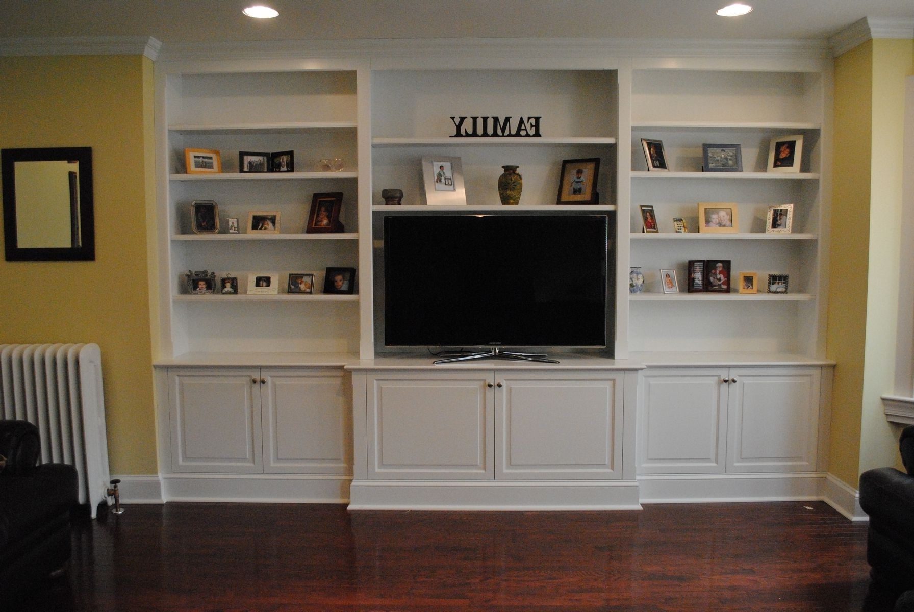 Recent Built In Bookcases With Tv Intended For Shelves : Peachy Outstanding Built In Tv Cabinets Wall Units White (View 13 of 15)