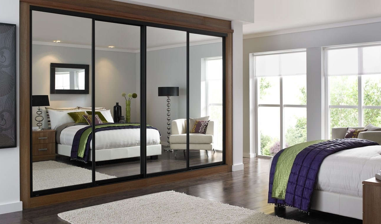 Recent Dark Wood Wardrobes With Mirror With Bedroom : Comely Sliding Glass Mirror Door Wardrobe Design Bedroom (View 13 of 15)