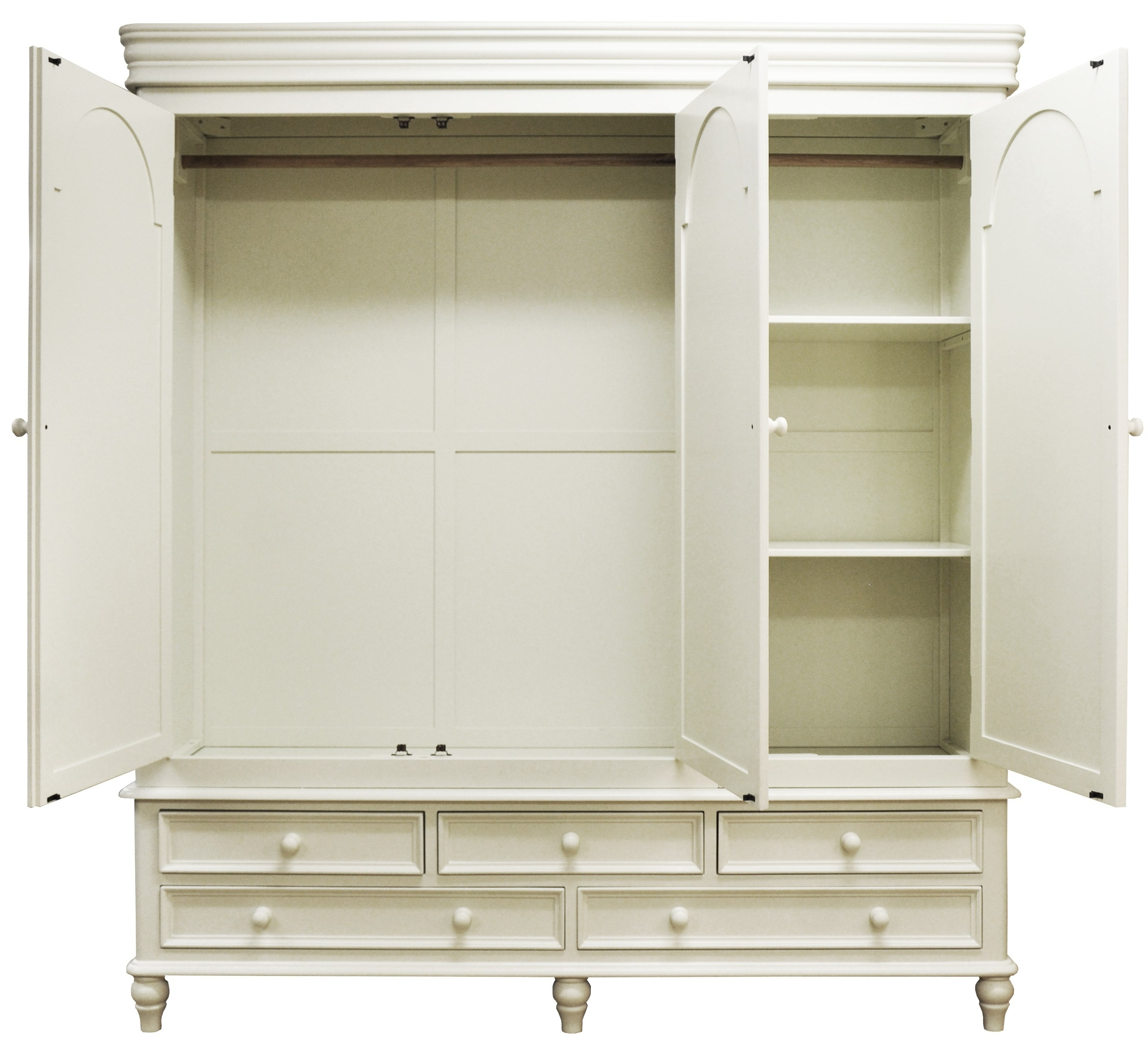 Recent Large White Wooden Wardrobe With Many Drawers On The Bottom With Hanging Wardrobes Shelves (View 13 of 15)