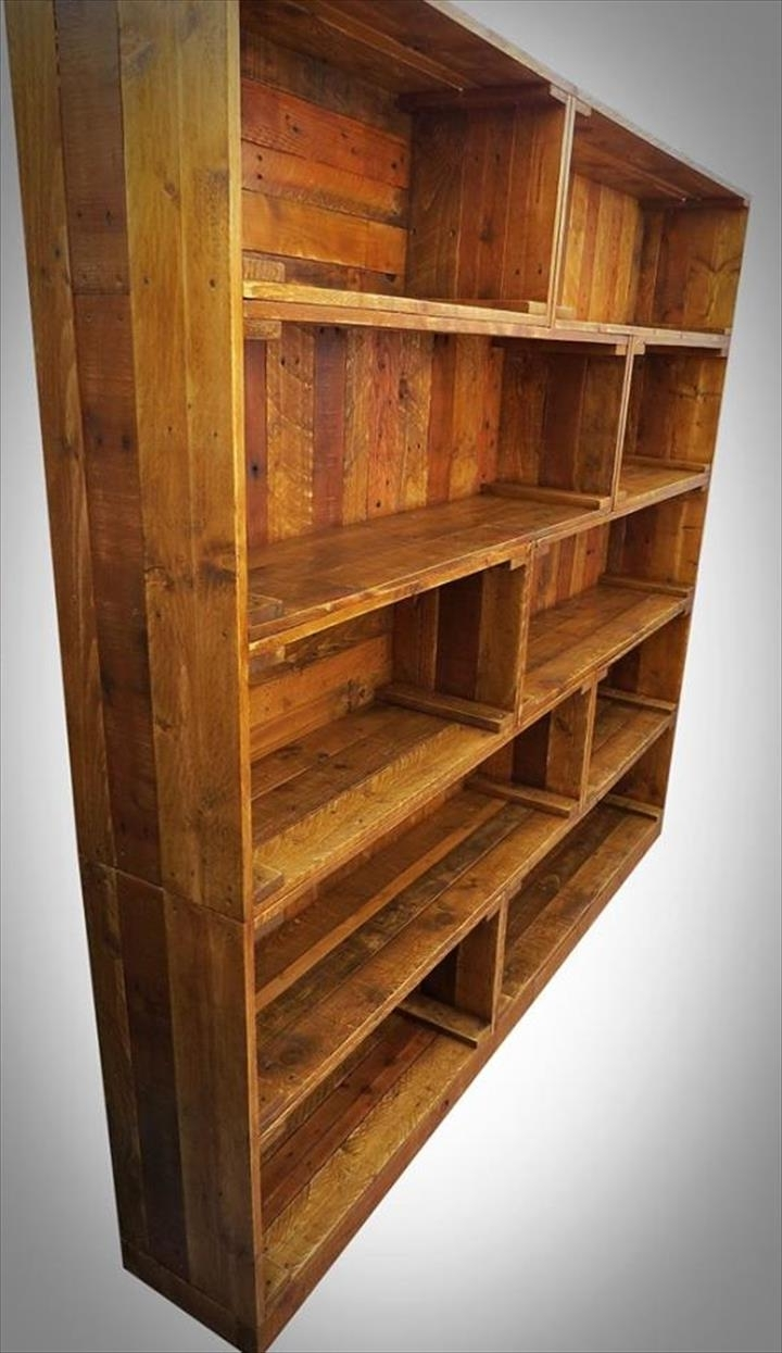 Recent Large Wooden Bookcase Unforgettable Picture Design Bookcases Wood Intended For Pallet Bookcases (View 15 of 15)