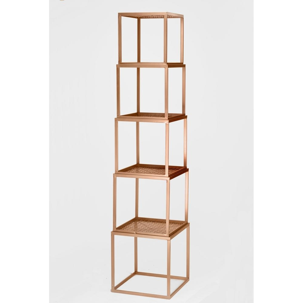 Recent Rose Gold Stackable Etagere Open Bookcase 17920 – The Home Depot Intended For Gold Metal Bookcases (View 4 of 15)