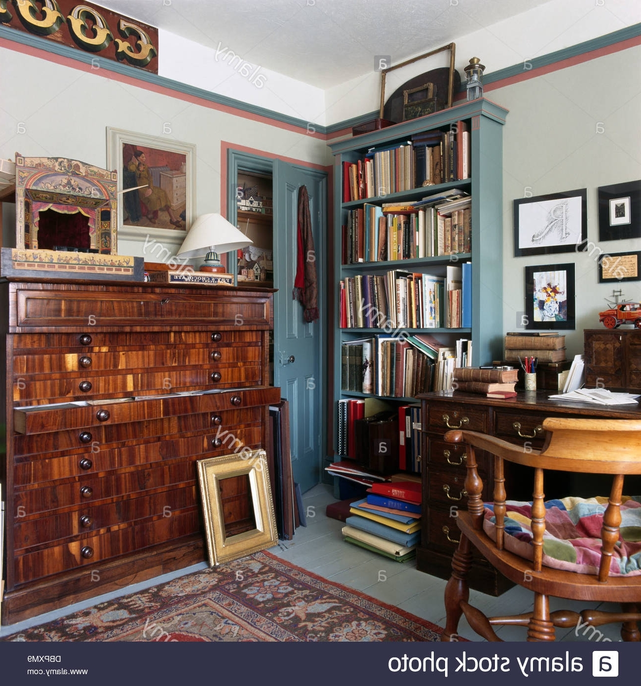 Recent Study Bookcases Inside Antique Plans Chest And Blue Painted Bookcase In Old Fashioned (View 8 of 15)