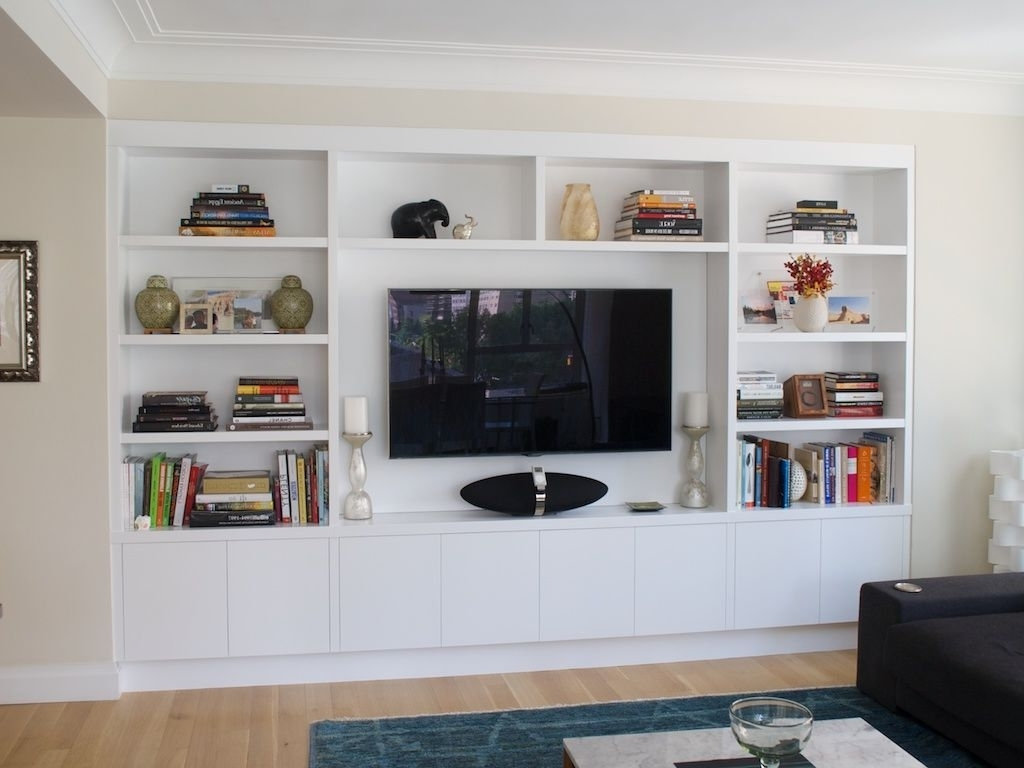 Recent Tv Wall Unit Within Joinery Configuration Like This To Take Up Tv Wall And Conceal All (View 9 of 15)