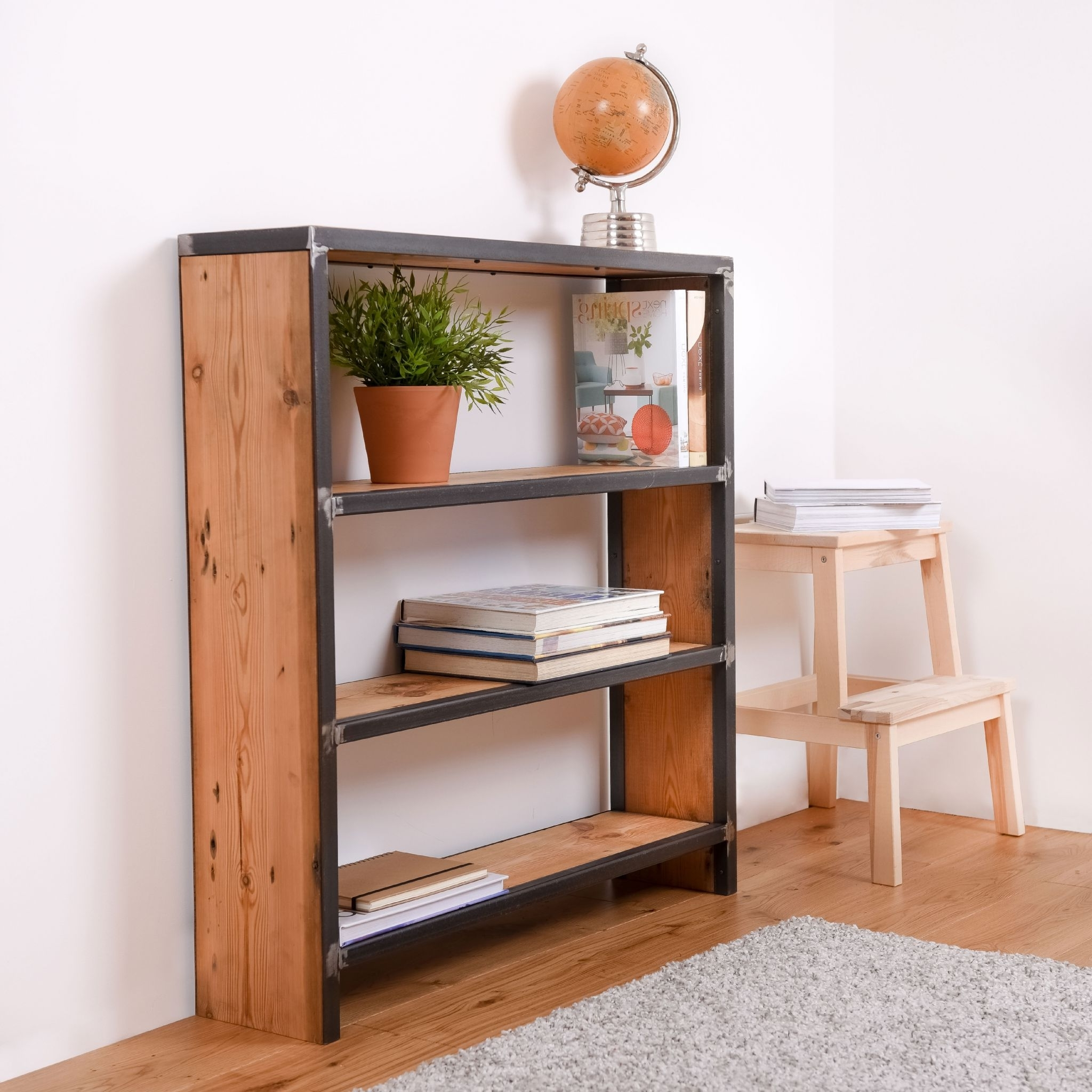Reclaimed Wood Bookcases With Well Liked Reclaimed Wood And Steel Industrial Bookcase (View 15 of 15)