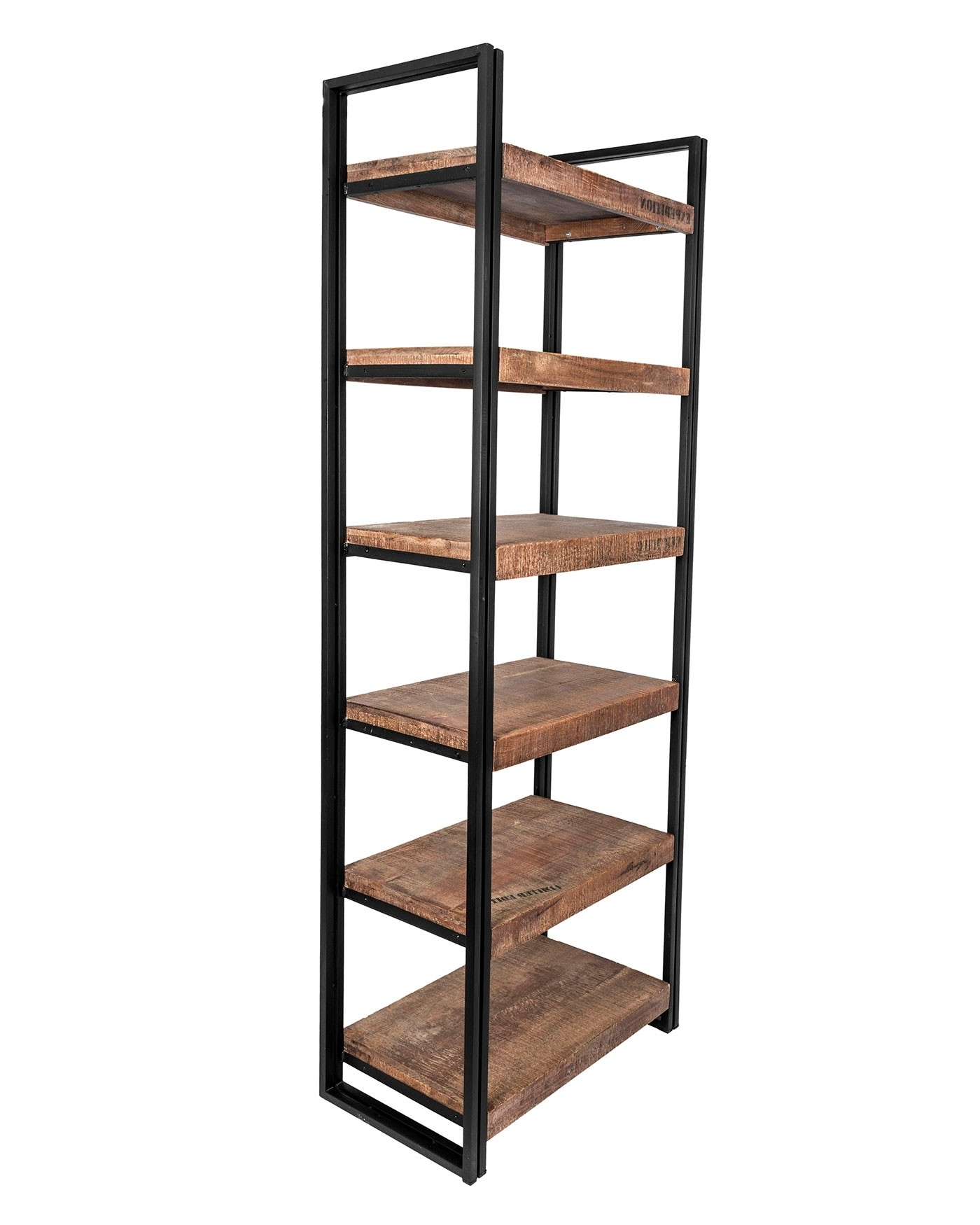 Reclaimed Wood Open Shelf Tall Bookcase Industrial Furniture Range With Latest Reclaimed Wood Bookcases (View 7 of 15)