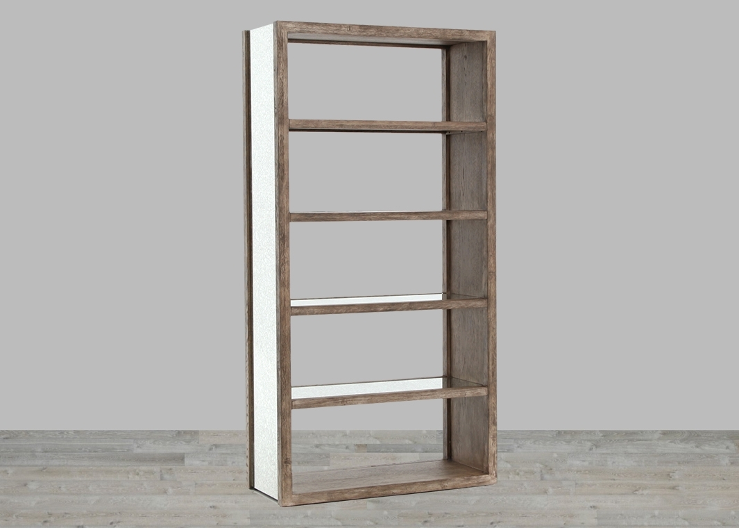 Rectangular Washed Grey Bookcase With Antique Mirror With Most Popular Mirrored Bookcases (View 10 of 15)