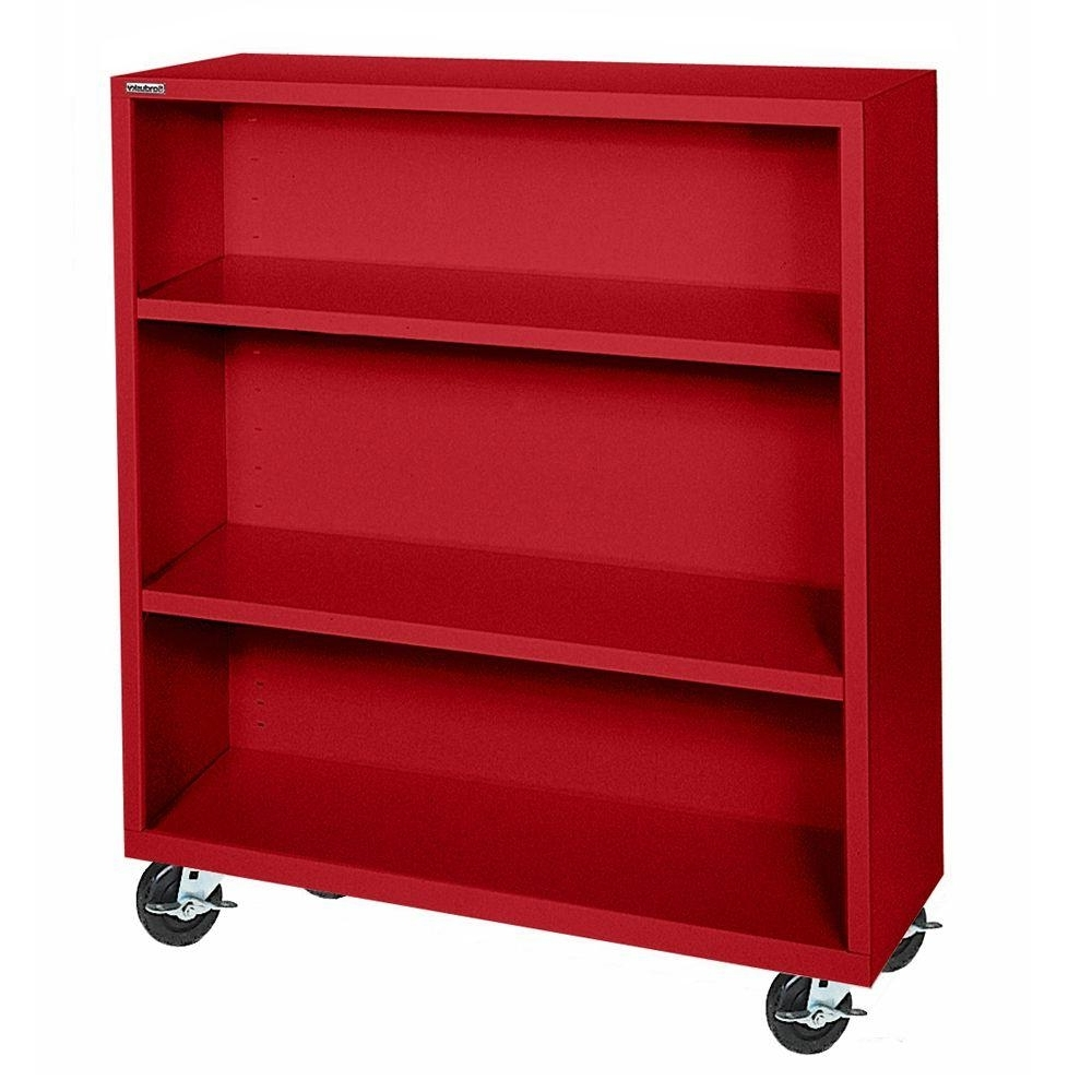 Red Bookcases Throughout Most Up To Date Sandusky Red Mobile Steel Bookcase Bm20361842 01 – The Home Depot (View 5 of 15)