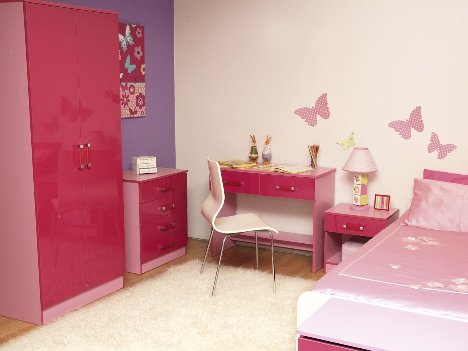 Red Pink Wooden Wardrobe Next To Red Pink Wooden Chest Of Drawers Throughout Most Current Childrens Pink Wardrobes (View 14 of 15)