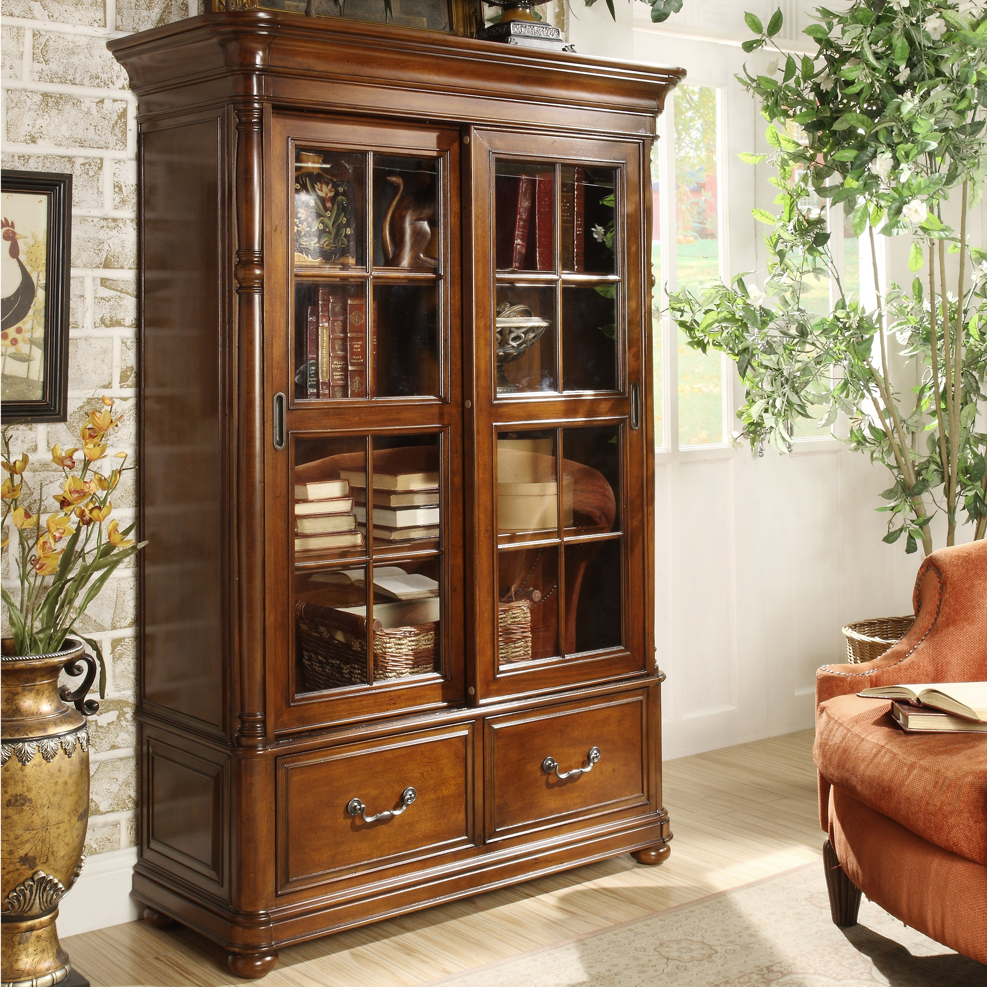 Riverside Allegro Sliding Door Bookcase (View 13 of 15)