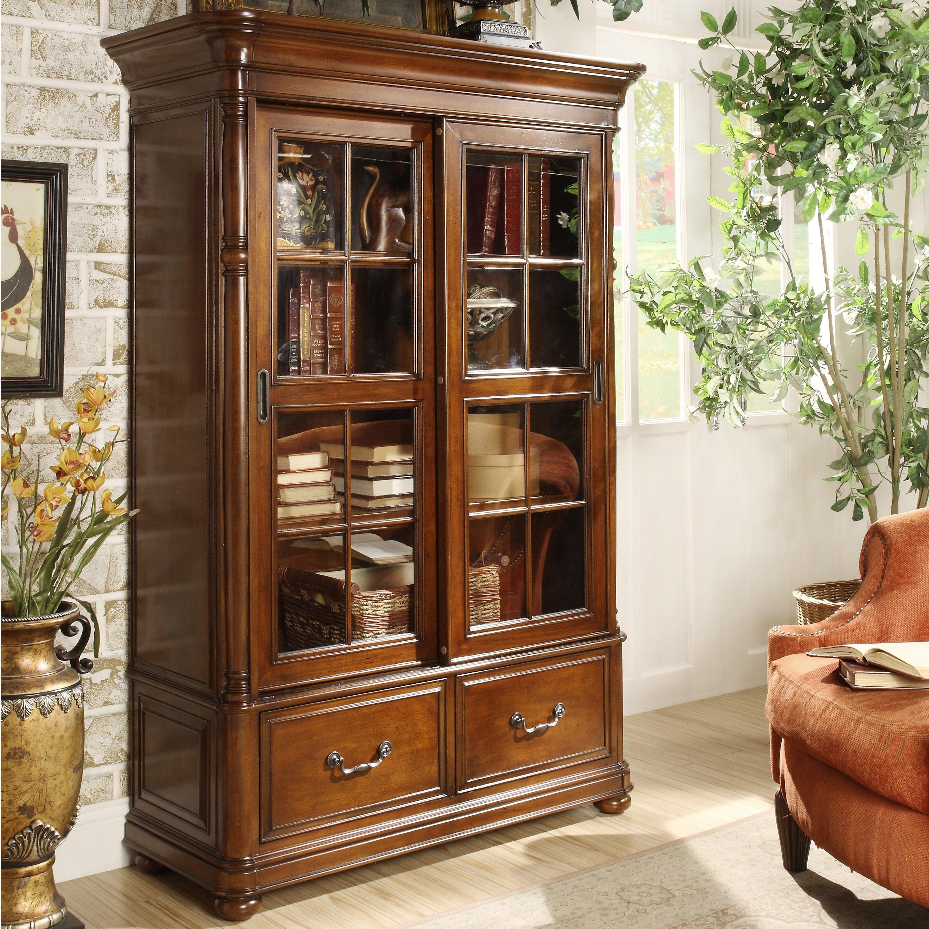 Riverside Allegro Sliding Door Bookcase (View 13 of 15)