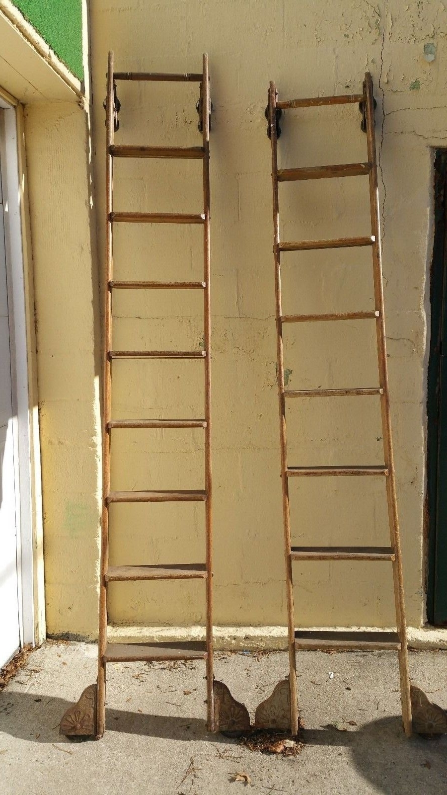 Rolling Library Ladder With Well Liked Antique Rolling Library Ladders « Obnoxious Antiques (View 13 of 15)