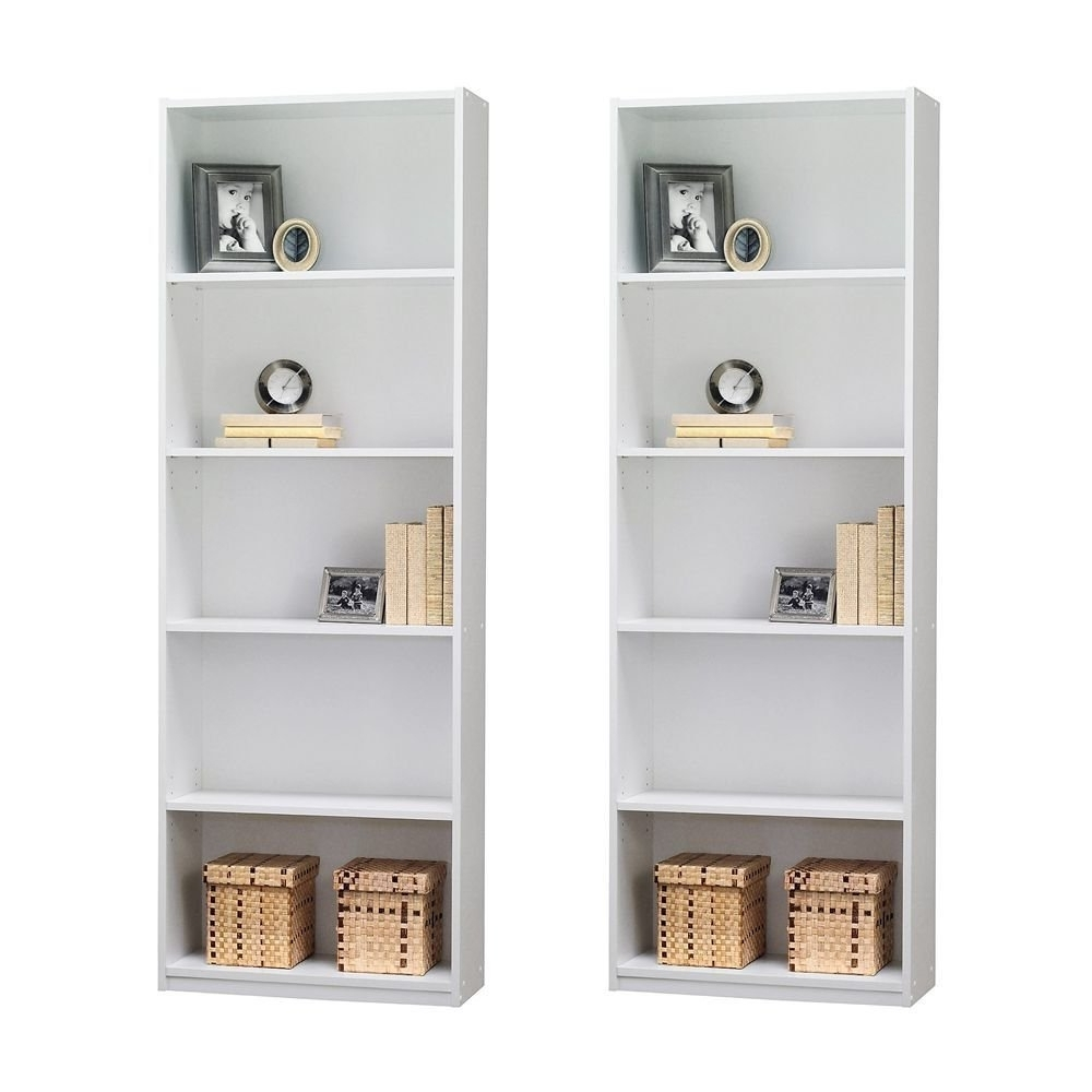 Room Essentials 5 Shelf Bookcases With Latest Amazon: Ameriwood 5 Shelf Bookcase, Set Of 2, White: Kitchen (View 9 of 15)