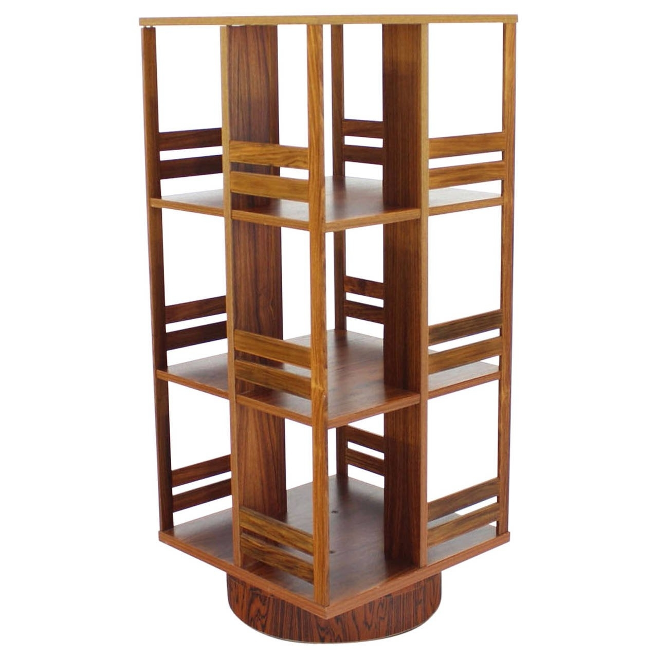 Rotating Bookcases Throughout Trendy Danish Moden Rosewood Revolving Bookcase Record Cabinet Shelf At (View 11 of 15)