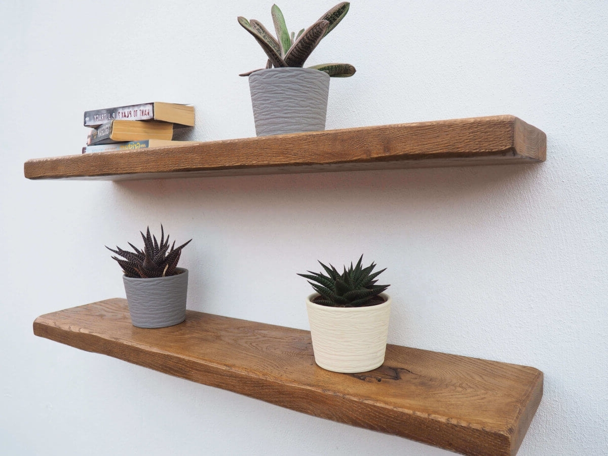 Rustic Oak Floating Shelves – Order Online! Free Brackets & Fast For 2017 Oak Shelves (View 11 of 15)