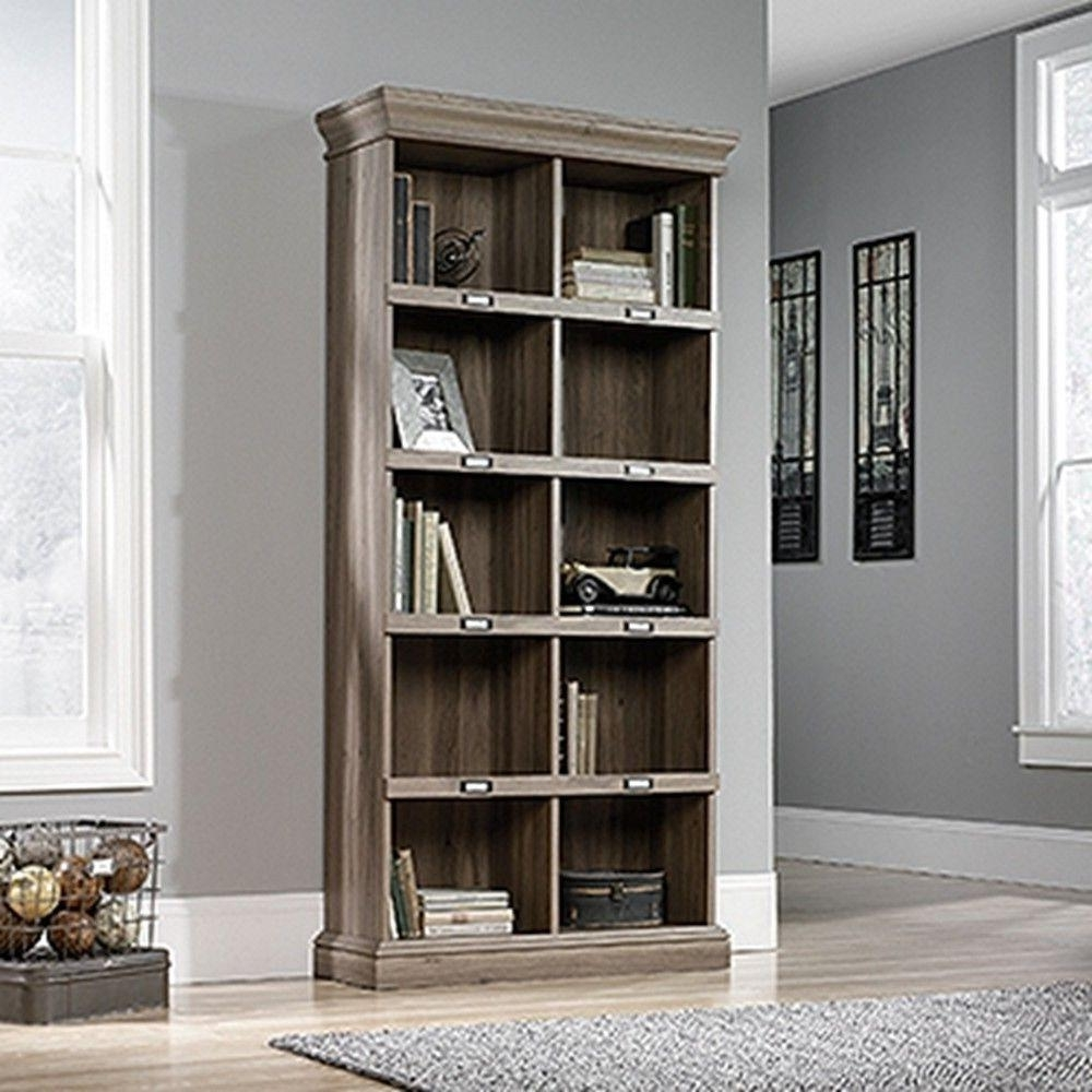 Sauder Barrister Lane Salt Oak Open Bookcase 414108 – The Home Depot With Recent Barrister Lane Bookcases (View 13 of 15)