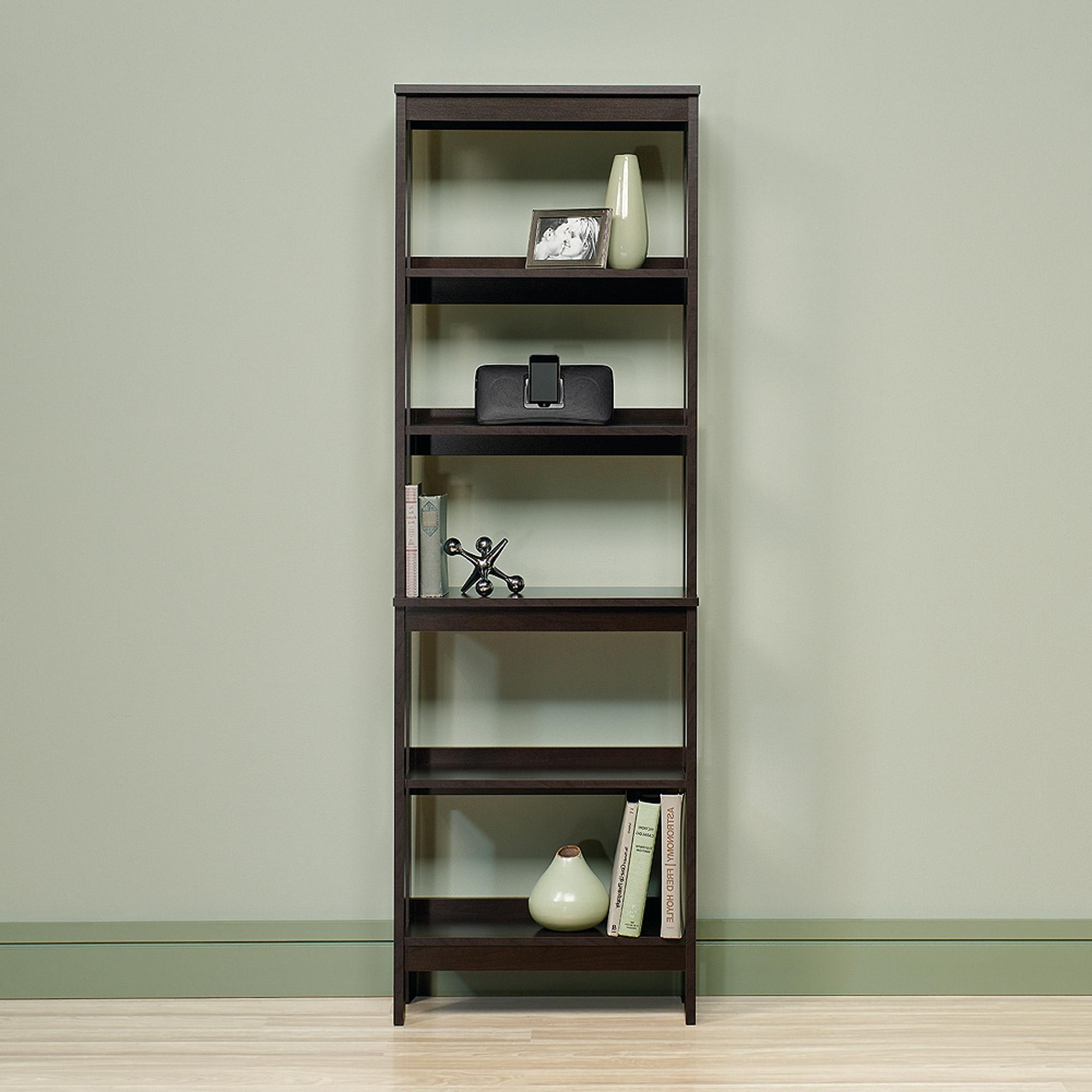 Sauder Beginnings 5 Shelf Bookcase, Cinnamon Cherry Finish In Widely Used Sauder Beginnings 3 Shelf Bookcases (View 12 of 15)