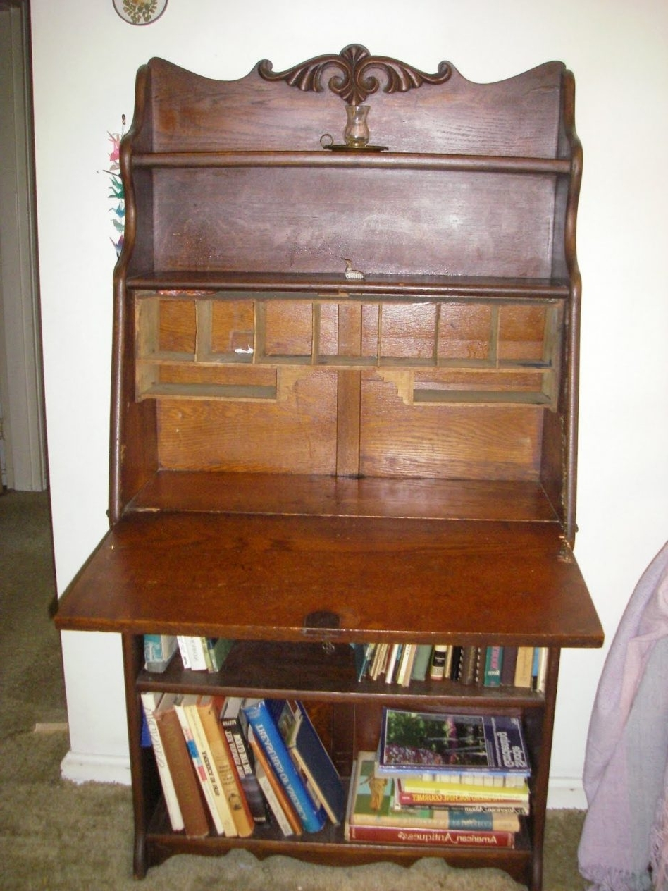 Secretary Bookcases With Recent Desk ~ Small Drop Leaf Secretary Antique Front With Bookcase (View 12 of 15)