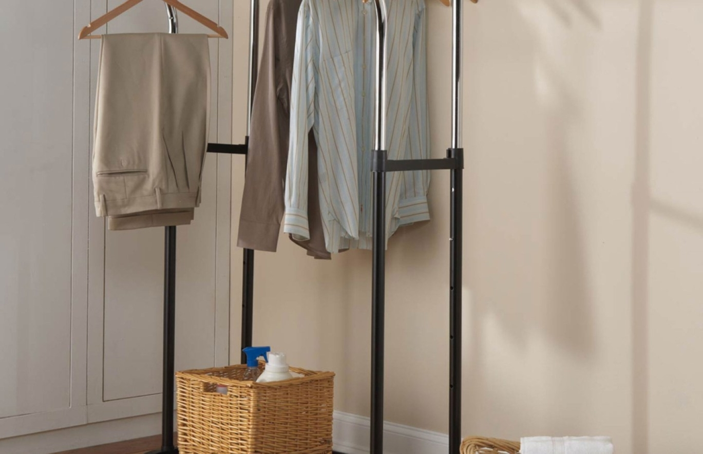 Shelf : Wood Double Shelf Clothes Rail Amazing Double Up Wardrobe Inside Preferred Double Up Wardrobes Rails (View 3 of 15)