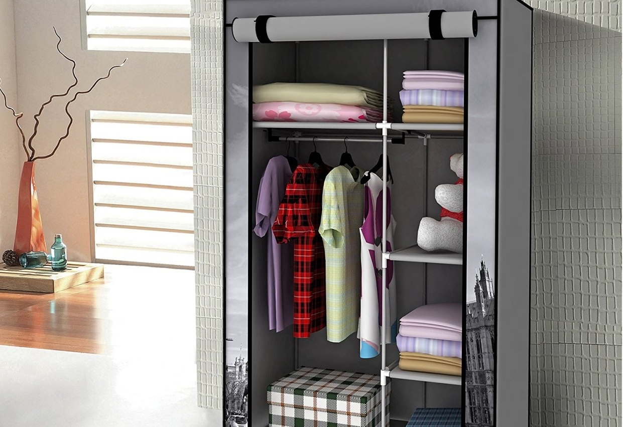 Shelf : Wood Double Shelf Clothes Rail Amazing Double Up Wardrobe Pertaining To Famous Double Up Wardrobes Rails (View 11 of 15)