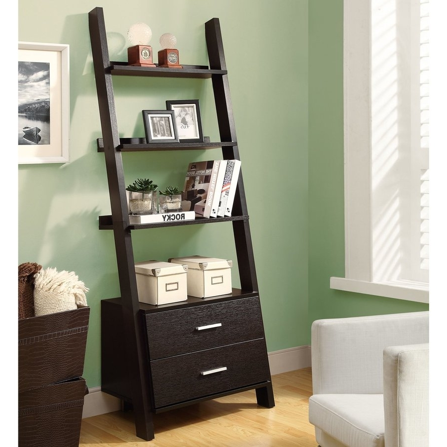 Shop Monarch Specialties Cappuccino Composite 4 Shelf Bookcase At With Well Known Leaning Shelf Bookcases (View 9 of 15)