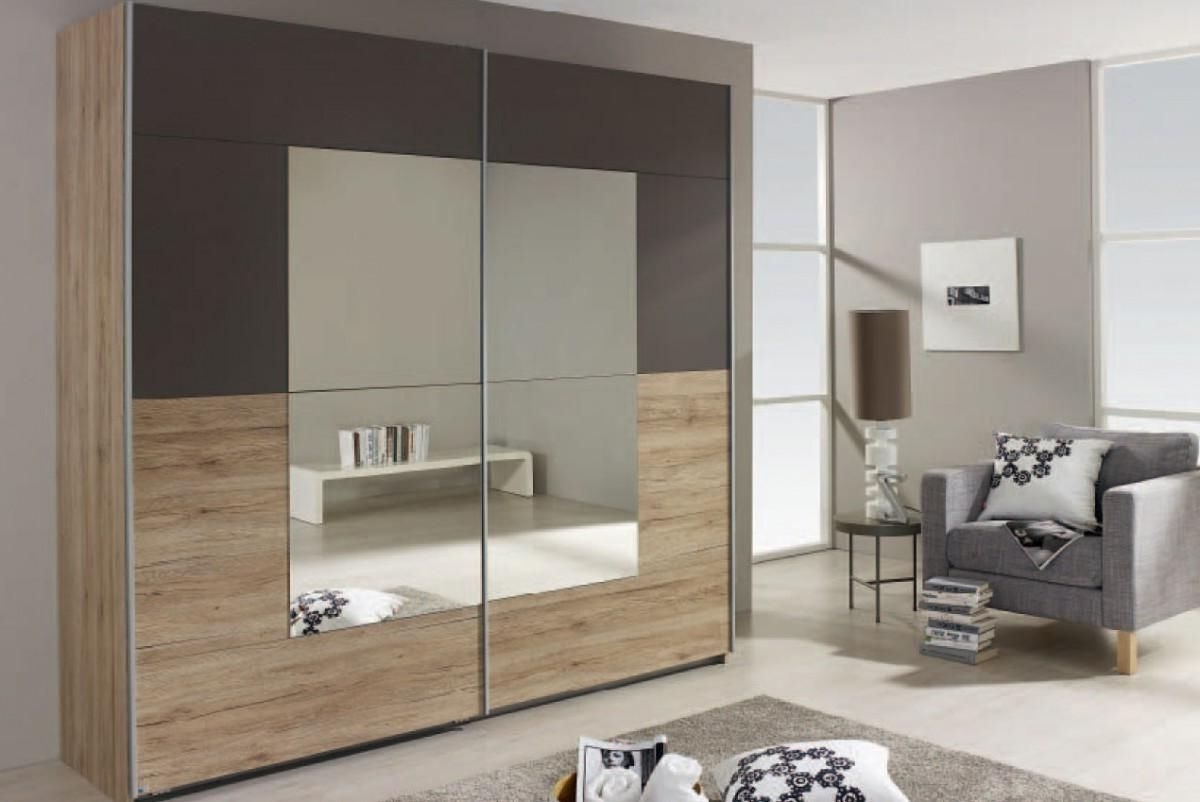 Sliding Door Wardrobes In Most Popular Crato Sliding Door Wardrobe W218Cm In Sanremo Oak And Lava Grey (View 8 of 15)