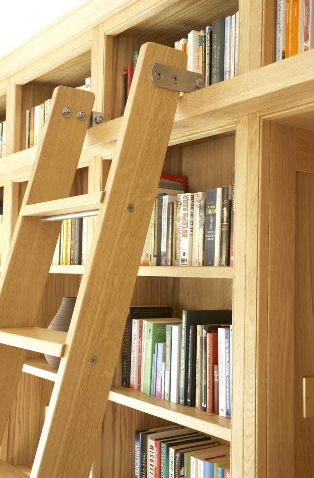 Sliding Library Ladder In Preferred Furniture: Awesome Unfinished Wood Library Bookcase And Ladder (View 12 of 15)