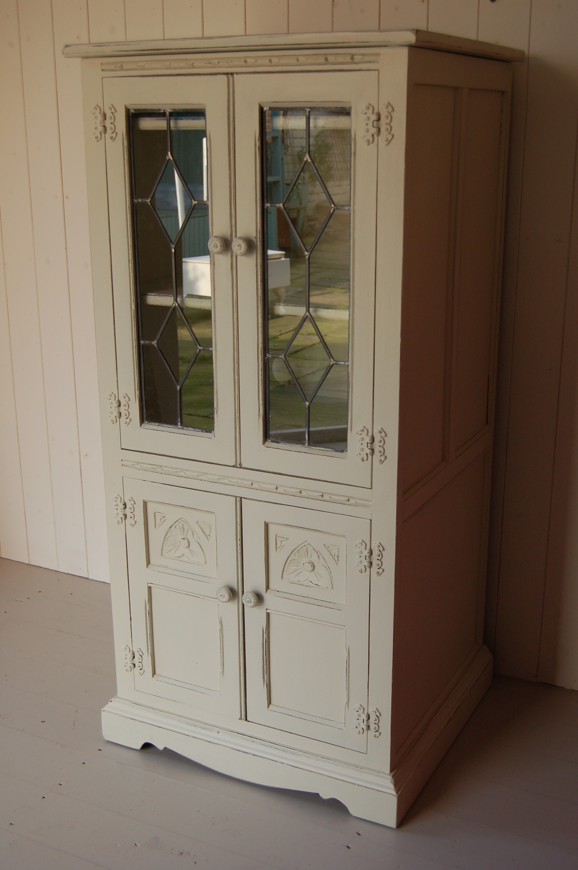 Small Vintage Old Charm Dresser Hand Painted And Distressed In F&b With Trendy Hand Painted Bookcases (View 11 of 15)