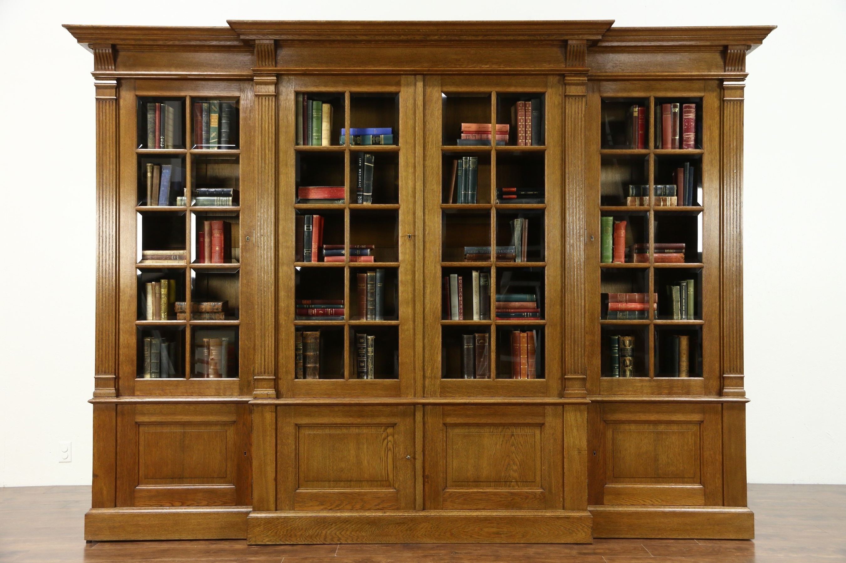 Sold – French Oak 1920's Antique 10' Library Bookcase, Beveled Intended For Most Popular Oak Library Bookcases (View 12 of 15)