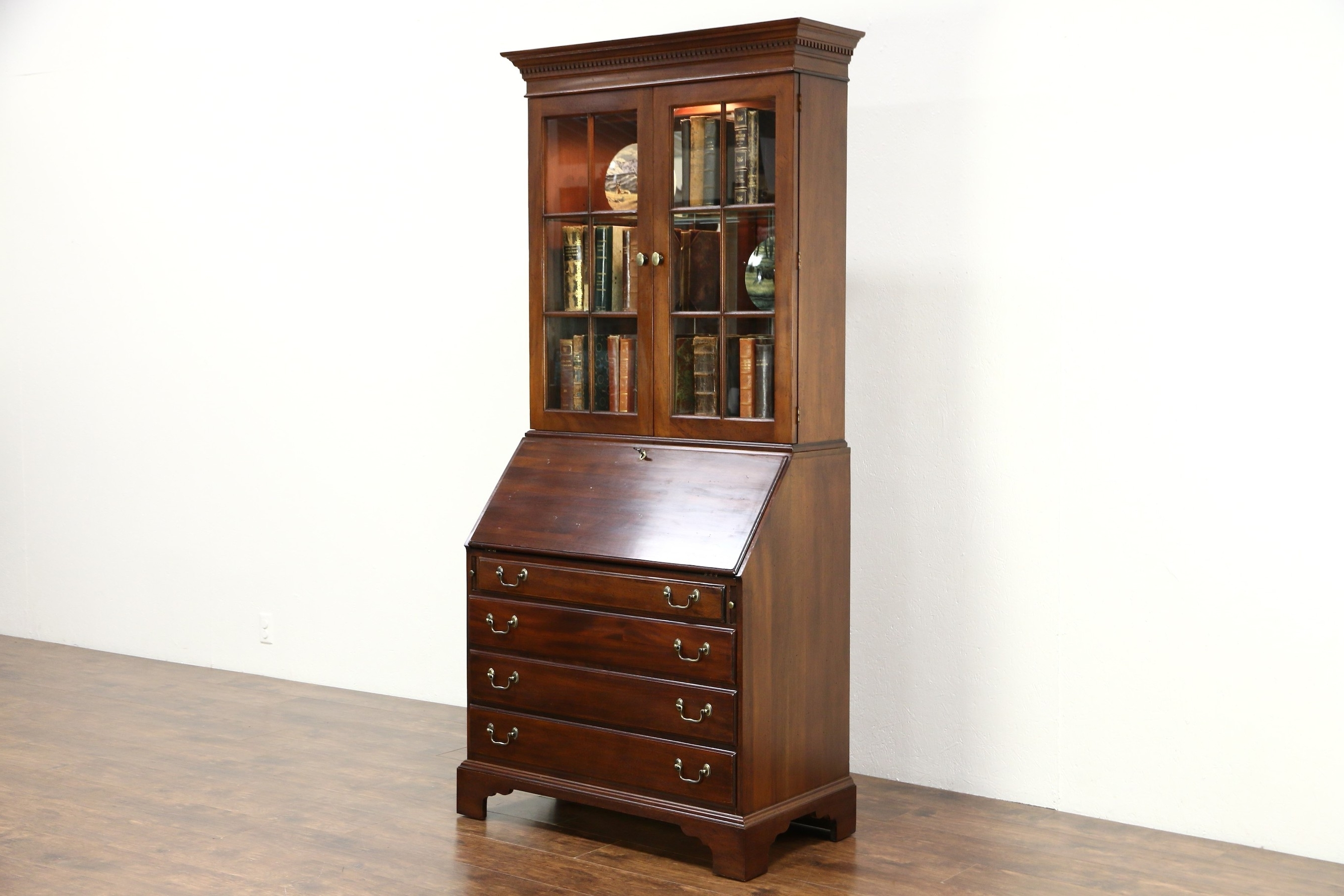 Sold – Traditional Vintage Mahogany Secretary Desk & Bookcase For Most Recent Antique Secretary Desk With Bookcases (View 9 of 15)