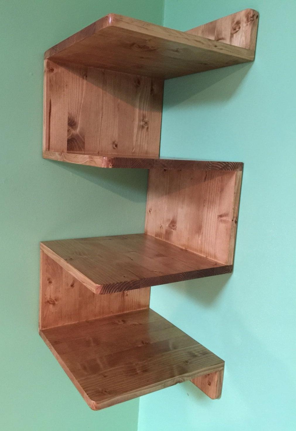 Solid Oak Shelves Intended For Newest Zig Zag Corner Shelf, Custommade Shelves, Handmade Corner Shelf (View 10 of 15)