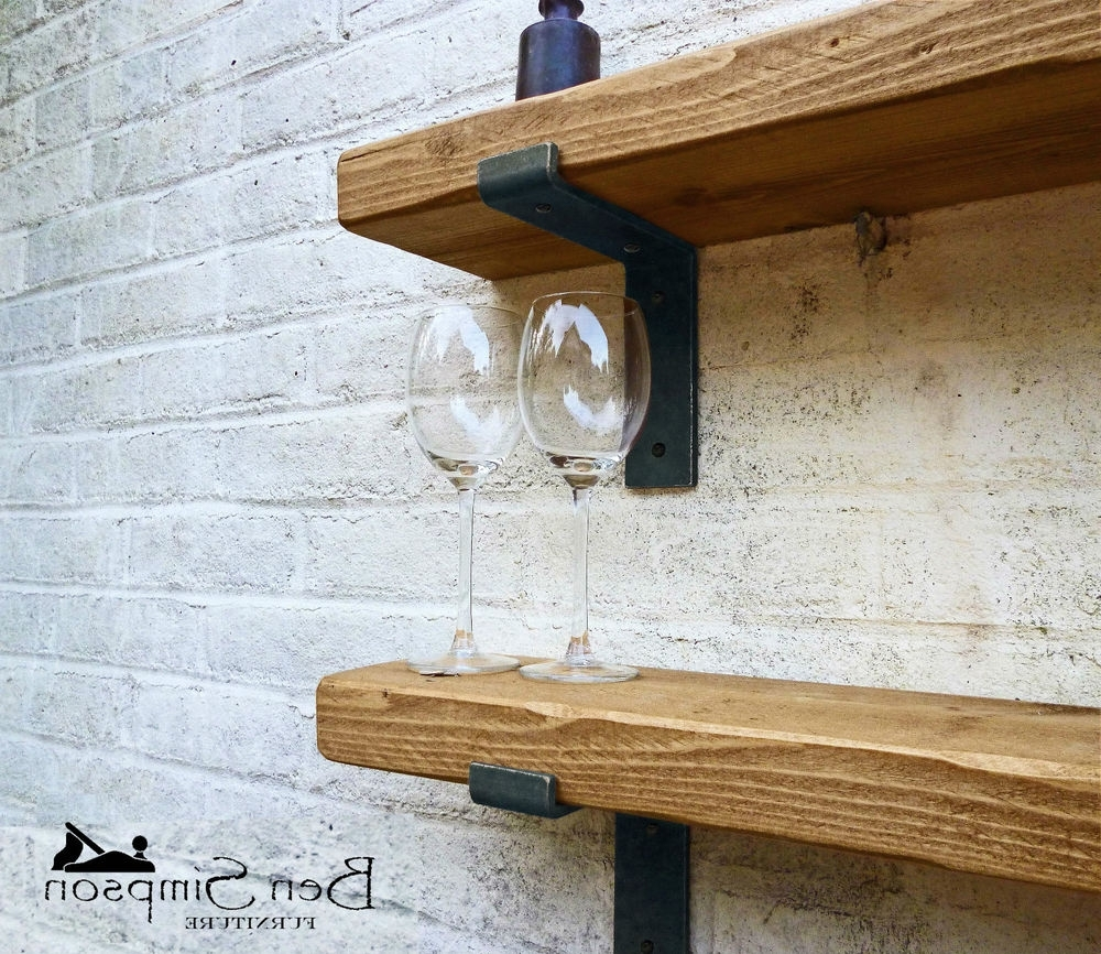 Solid Oak Shelves Intended For Preferred Rustic Chunky Industrial Shelf Shelves Metal Brackets Solid Wood (View 11 of 15)