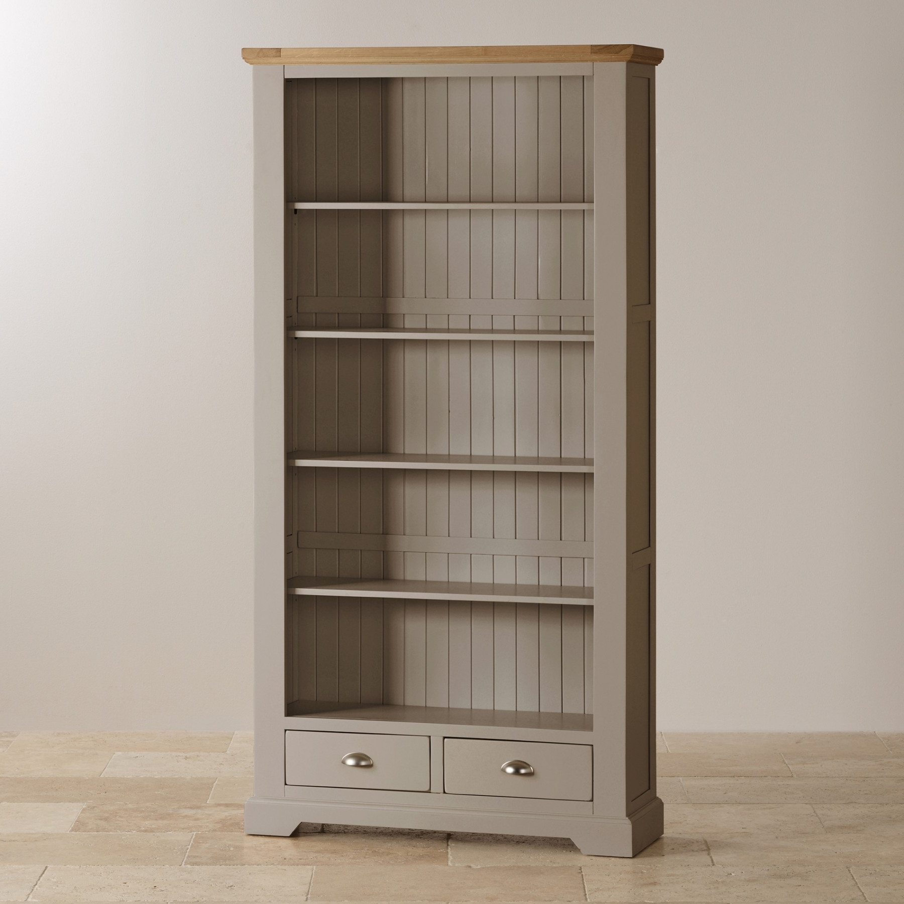 St Ives Natural Oak And Light Gray Painted Tall Bookcase Oak Within Most Popular Painted Oak Bookcases (View 14 of 15)