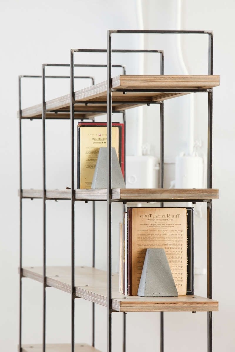 Steel Bookcases Pertaining To Best And Newest Bookcase With Metal Uprights And Wooden Shelves From Oak Or (View 11 of 15)