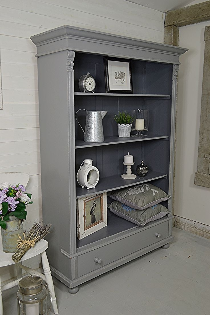 Stirring Tall Grey Bookcase Picture Design Narrow Decor Bookcases Pertaining To Fashionable Grey Bookcases (View 12 of 15)