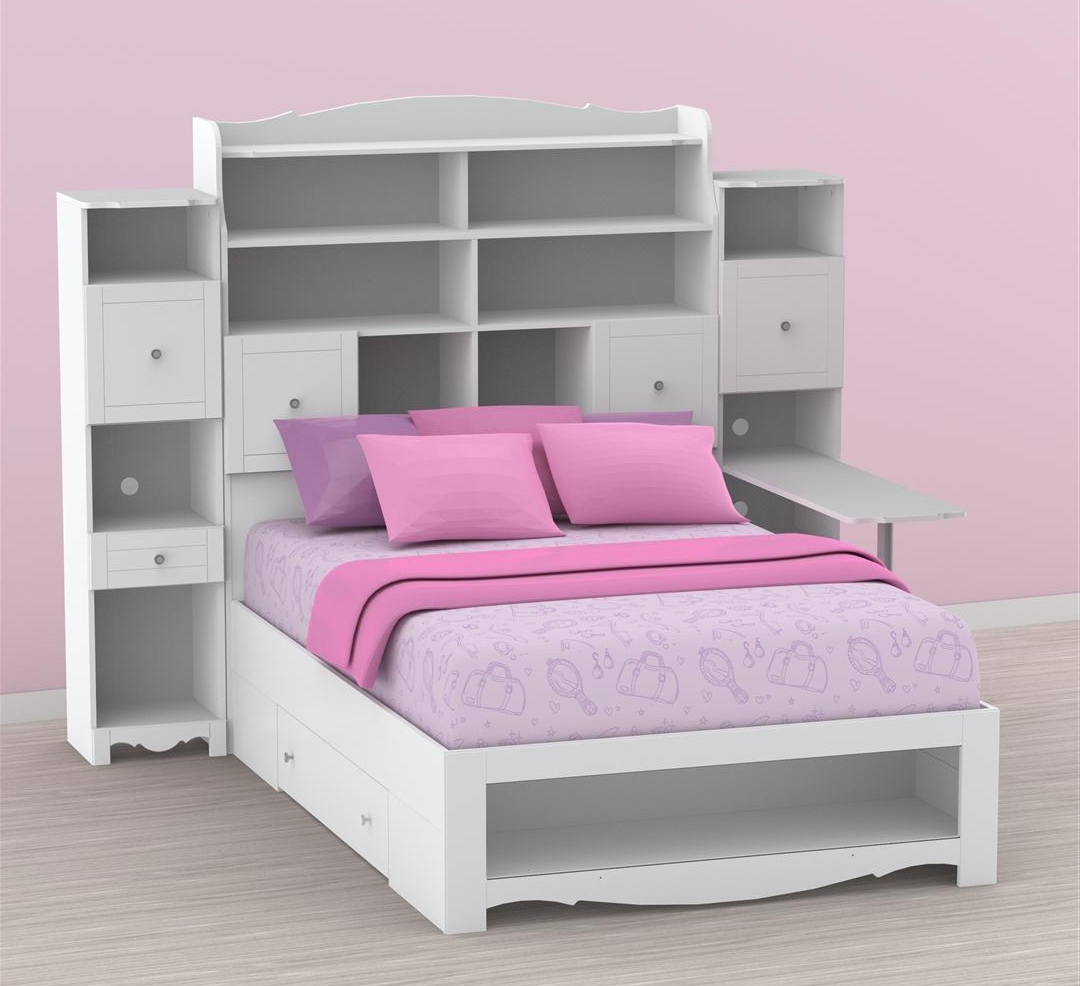 Storage Bed With Bookcase Headboard Nexera Pixel Full Tall Desk N Inside Latest Queen Size Bookcases Headboard (View 15 of 15)