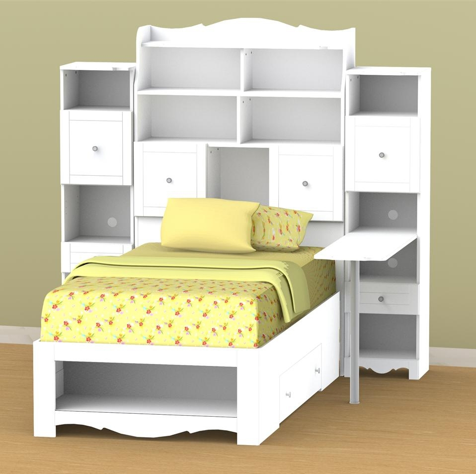 Storage Bed With Bookcases Headboard Intended For Most Current Nexera Pixel Twin Tall Bookcase Storage Bed With Desk N 315803Set (View 11 of 15)