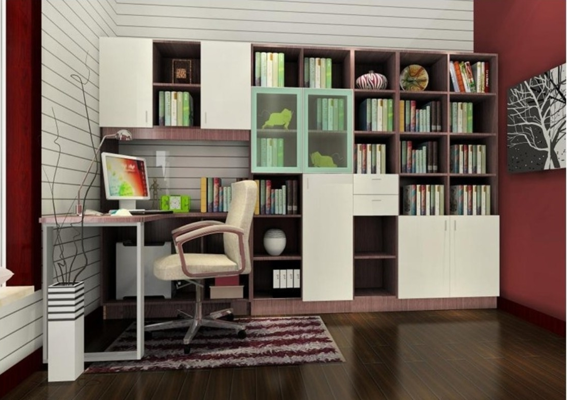 Study Bookshelves Pertaining To Famous Bookshelves With Study Table Design, Living Room Decorating Ideas (View 2 of 15)