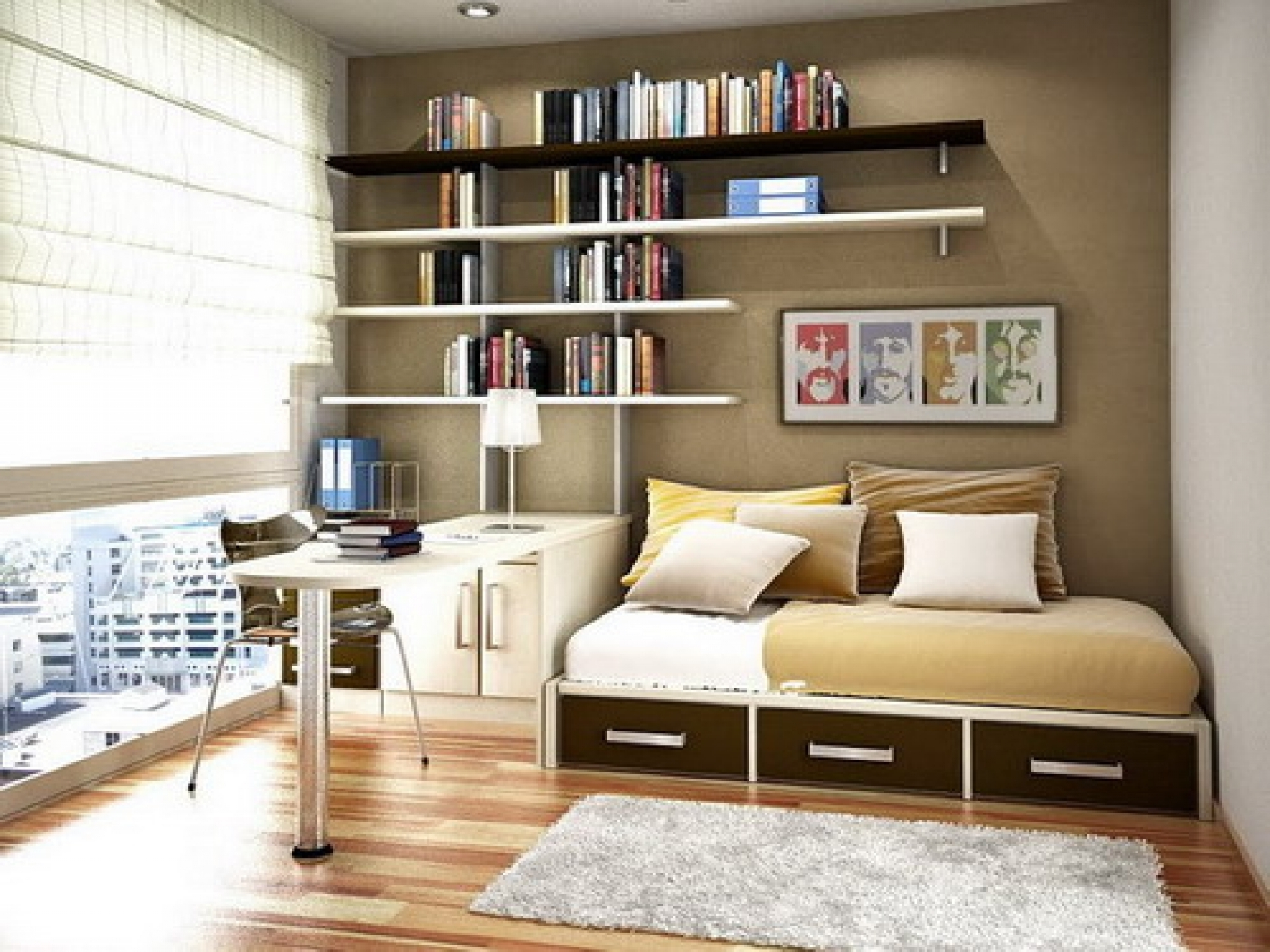 Study Shelving Ideas Regarding Most Current Modish Floating Bookshelves Over Sleeper Couch Storage And (View 12 of 15)