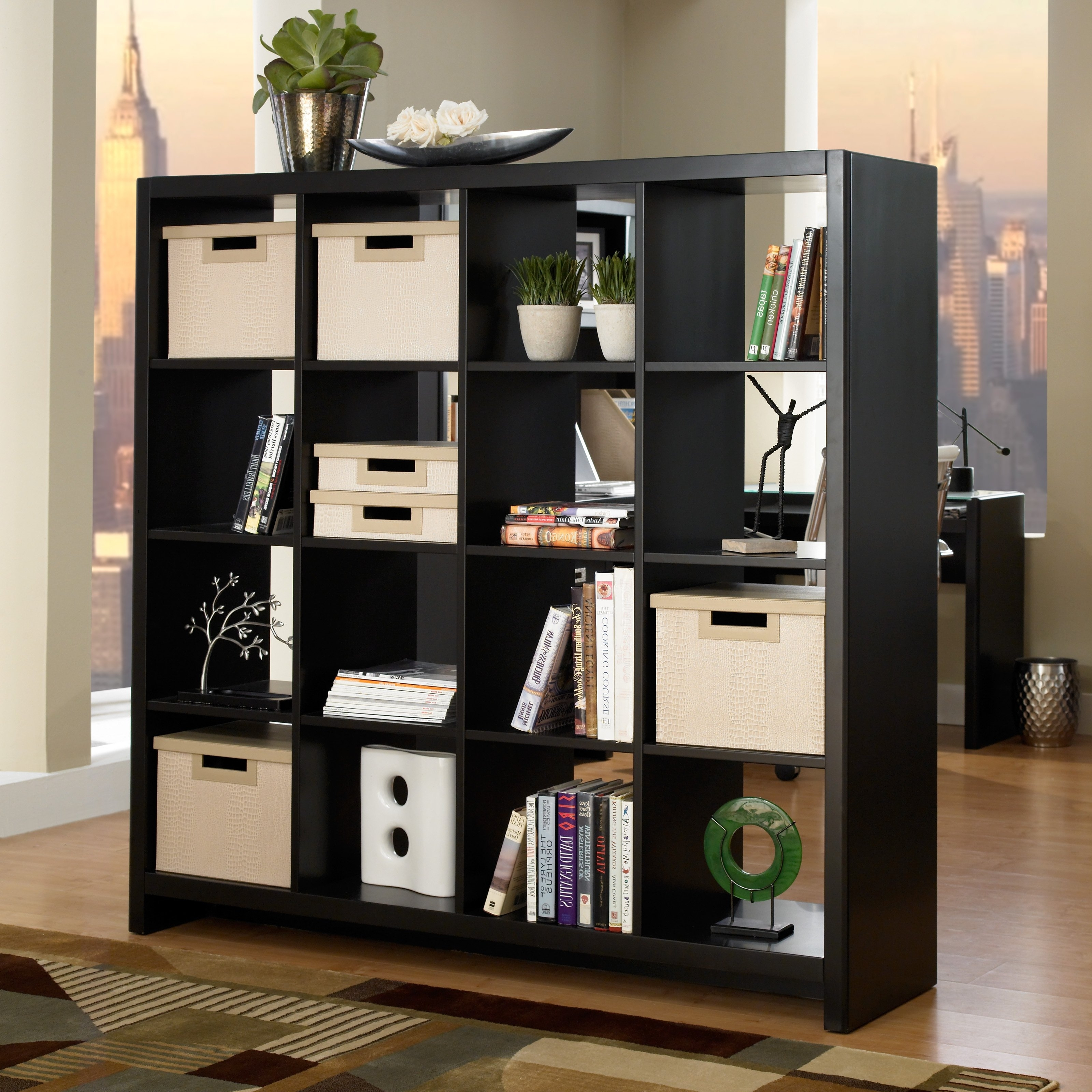Tall Black Wooden Bookcase With Cubices Shelves Addedcontainer For Popular Bookcases Room Divider (View 11 of 15)