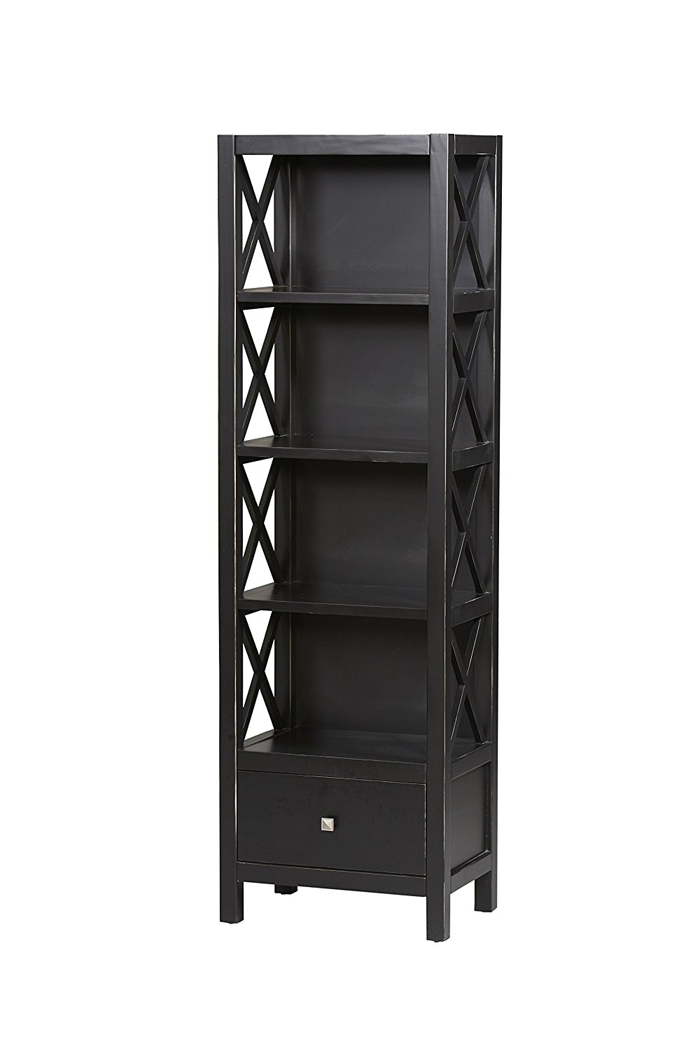 Tall Narrow Bookcases For Fashionable Amazon: Linon Anna Collection Tall Narrow 5 Shelf Bookcase (View 5 of 15)