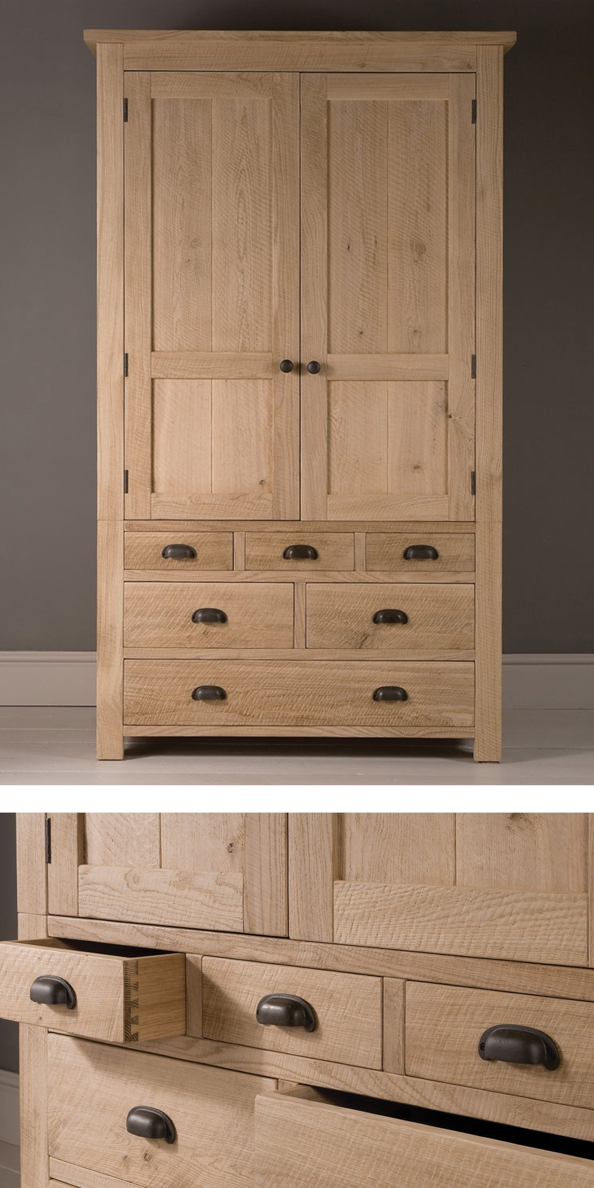 The Elegant Tall Alderman Gents Oak Wardrobe #wardrobe #bedroom With Regard To Widely Used Oak Wardrobes With Drawers And Shelves (View 14 of 15)