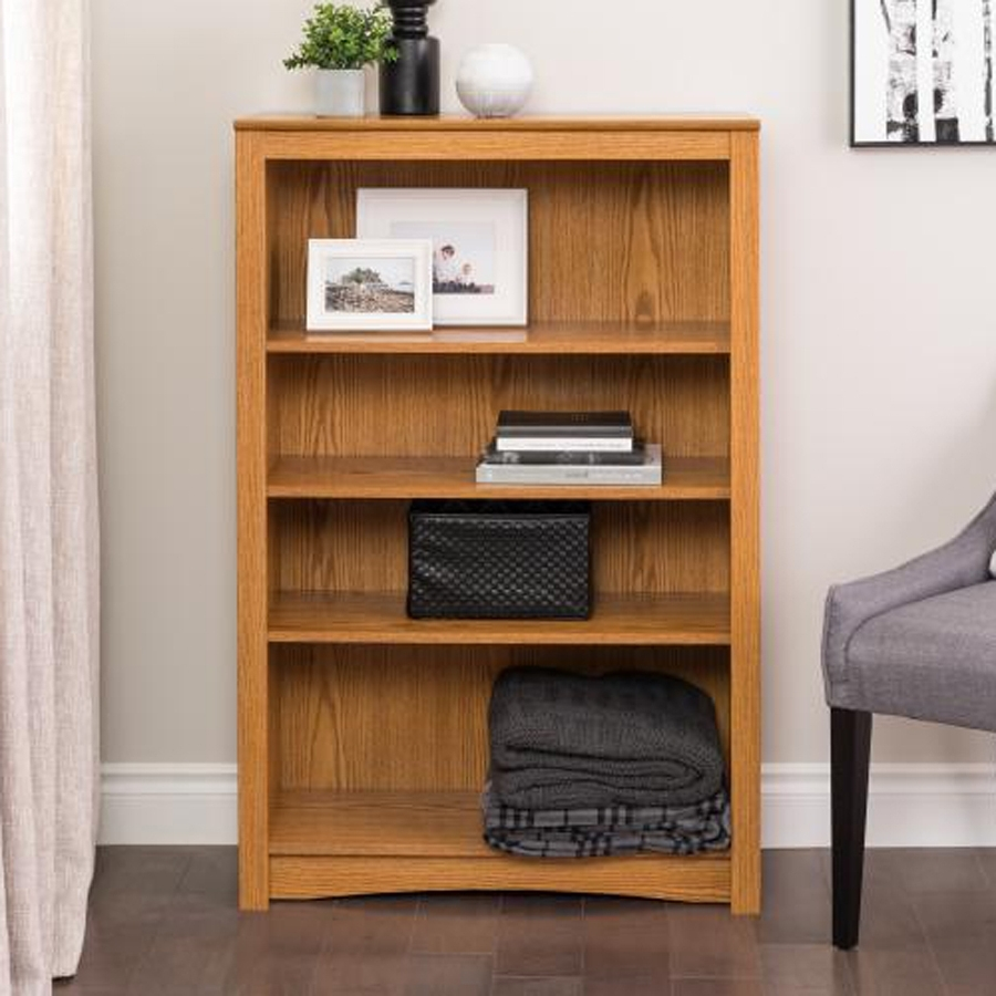 Trendy 4 Shelf Bookcases Intended For Shop Prepac Furniture Oak 4 Shelf Bookcase At Lowes (View 14 of 15)