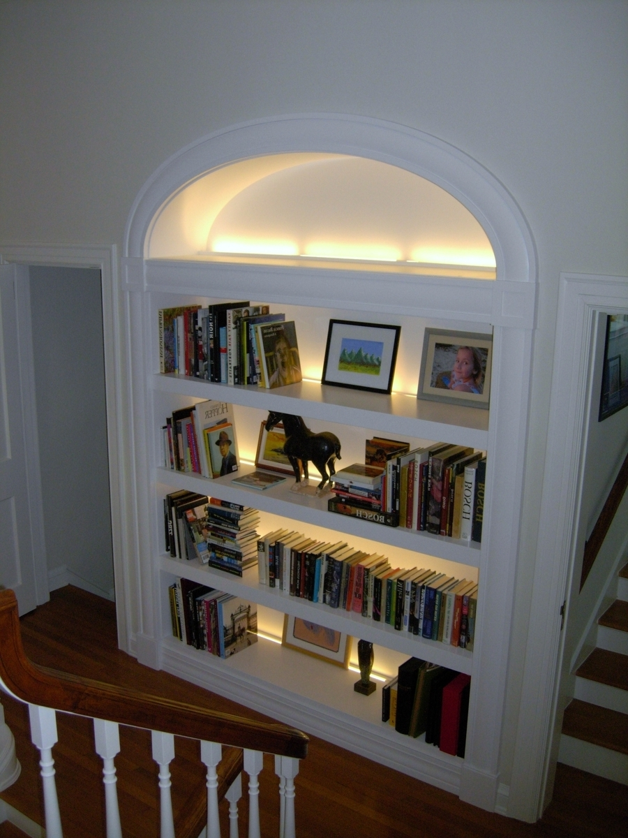 Trendy A Large, Deep Paint Grade Open Bookcase With Elliptical Casing With Regard To Bookcases Lighting (View 13 of 15)