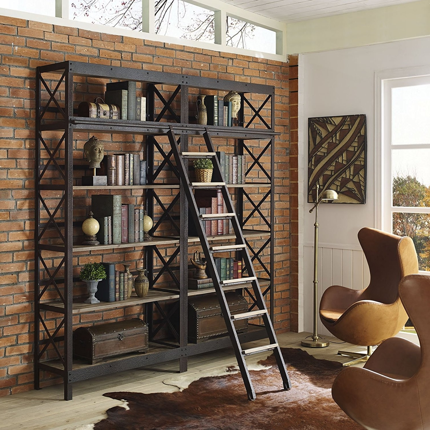 Trendy Amazon: Modway Headway Industrial Modern Wood Bookshelf With Inside Bookcases With Ladder And Rail (View 11 of 15)
