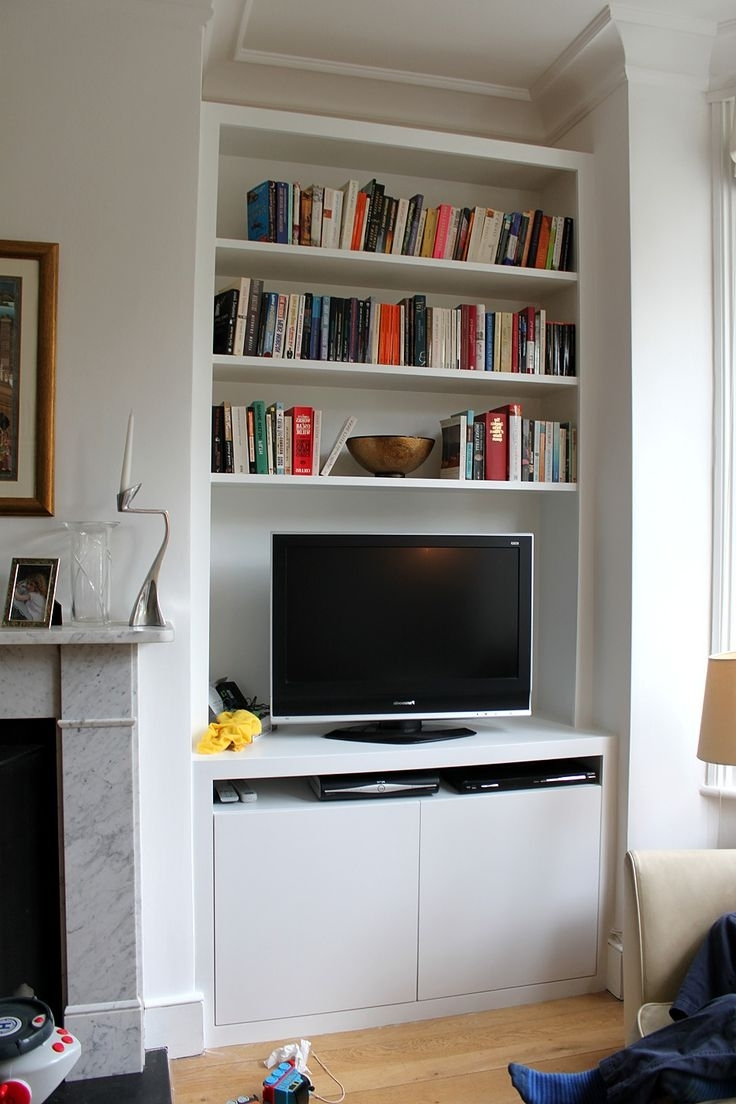 Trendy Bookcases With Tv Intended For Wall Units: Glamorous Bookcase With Tv Shelf Tv Entertainment (View 12 of 15)