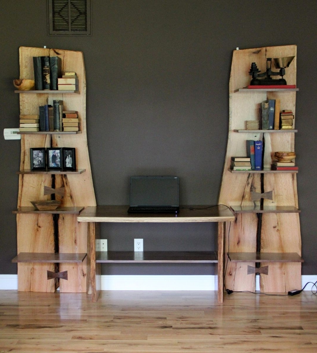 Trendy Custom Made Rustic Live Edge Oak Slab Bookcase / Built In Desk With Regard To Made Bookcases (View 13 of 15)