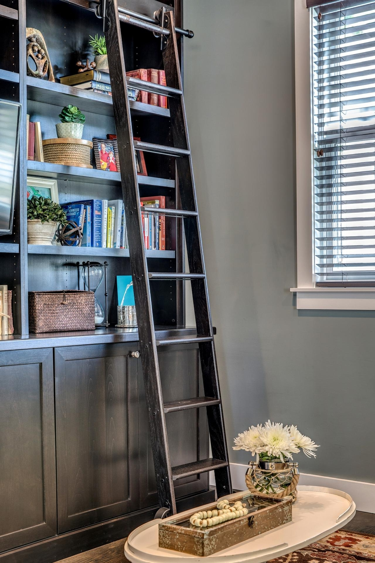 Trendy Decorative Living Room Bookshelf With Sliding Ladder Ideas Inside Sliding Library Ladder (View 14 of 15)