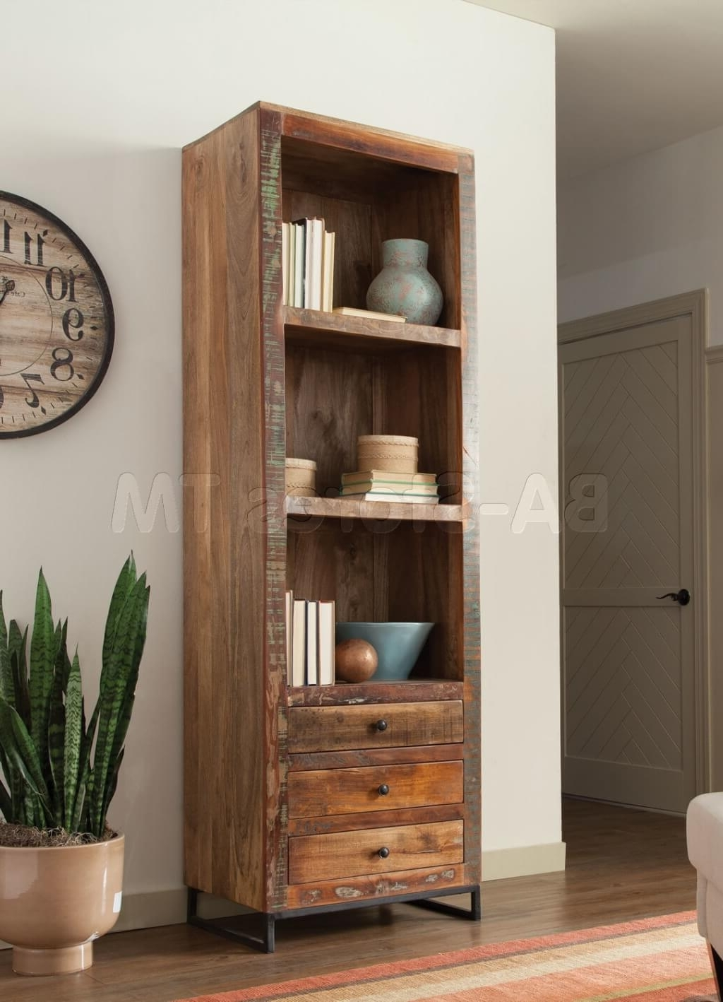 Trendy Distressed Wood Bookcases With Regard To Furniture: Tall Distressed Wooden Bookcase And Distressed Bookcase (View 1 of 15)