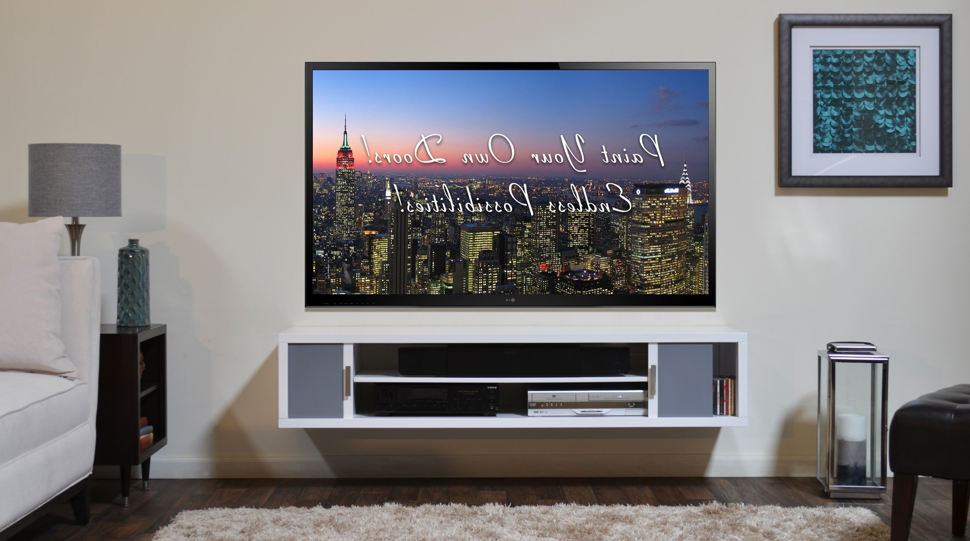 Trendy Flat Screen Shelving Within White Stained Wodoen Floating Tv Stand Shelf With Gray Sliding (View 14 of 15)