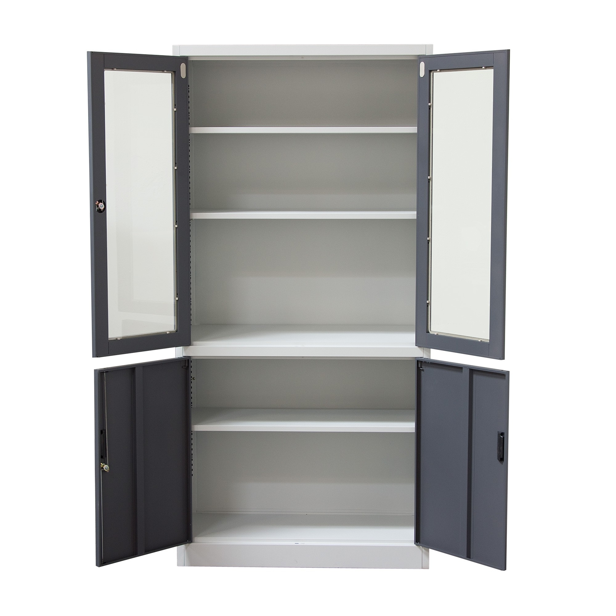 Trendy Furniture Shelf Bookcase Sliding Glass Doors In White With Grey With Regard To Black Bookcases With Doors (View 12 of 15)
